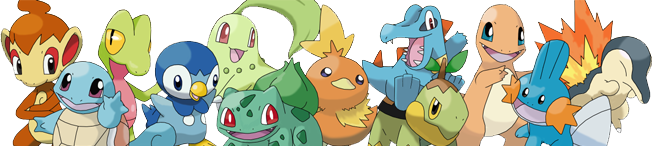 Artwork showing the Kanto, Johto, Hoenn and Sinnoh starter Pokémon. Artwork by Forest Grovyle.