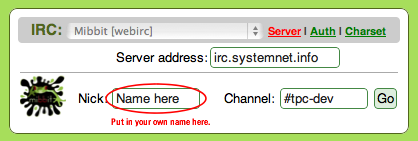 Box displaying Server, Nick and Channel. Feel free to input your own nickname.
