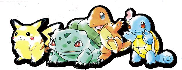 Kanto starter Pokémon - Pikachu, Bulbasaur, Charmander, Squirtle